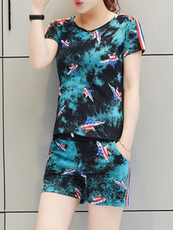 Blue Green Colorful Two Piece Shirt Shorts Plus Size Jumpsuit for Casual Party