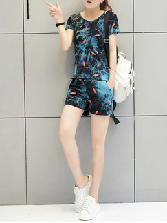 Blue Colorful Two Piece Shirt Shorts Plus Size Jumpsuit for Casual Party