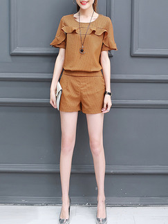 Brown Two Piece Shirt Shorts Plus Size Jumpsuit for Casual Office