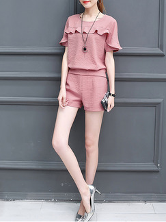 Pink Two Piece Shirt Shorts Plus Size Cute Jumpsuit for Casual Office