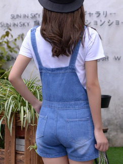 Blue and White Two Piece Shirt Shorts Plus Size Jumpsuit for Casual
