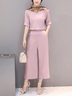 fddf6249ae4 Pink Two Piece V Neck Off Shoulder Shirt Pants Plus Size Wide Leg Cute  Jumpsuit for