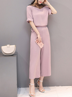 Pink Two Piece V Neck Off Shoulder Shirt Pants Plus Size Wide Leg Cute Jumpsuit for Casual Office