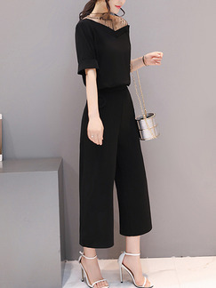 Black Two Piece V Neck Off Shoulder Shirt Pants Plus Size Wide Leg Jumpsuit for Casual Office