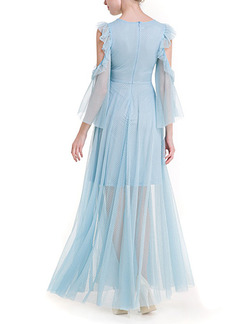 Blue Maxi Plus Size Dress for Cocktail Prom Ball