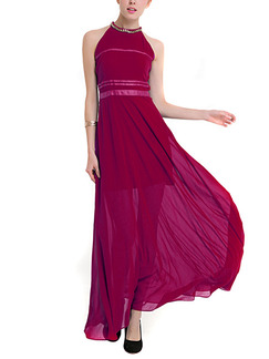 Red Maxi Plus Size Halter Dress for Cocktail Party Prom
