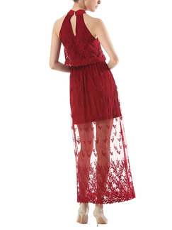 Red Maxi Plus Size Halter Lace Dress for Cocktail Party Prom