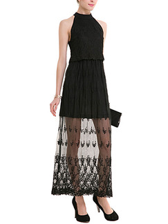 Black Maxi Plus Size Halter Lace Dress for Cocktail Party Prom