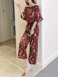 Brown Colorful Two Piece Floral Off Shoulder Shirt Wide Leg Pants Jumpsuit for Casual Office