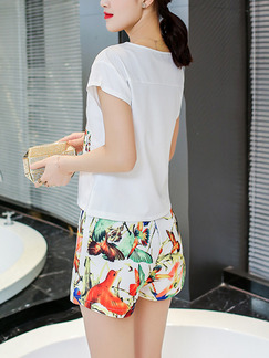 White Colorful Two Piece Shirt Shorts Plus Size Jumpsuit for Casual