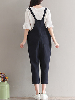 Black One Piece Slip Pants Plus Size Jumpsuit for Casual