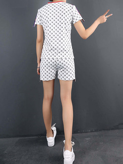 White Two Piece Shirt Shorts Plus Size V Neck Jumpsuit for Casual