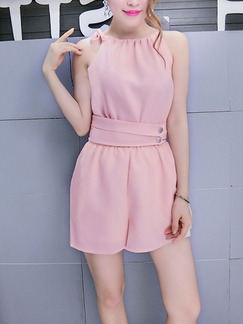 Pink One Piece Shorts Cute Halter Jumpsuit for Casual