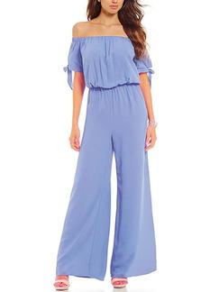 bb828a6ddca Blue Two Piece Off Shoulder Shirt Wide Leg Pants Plus Size Jumpsuit for  Casual