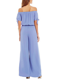 Blue Two Piece Off Shoulder Shirt Wide Leg Pants Plus Size Jumpsuit for Casual
