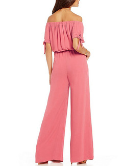 Pink Two Piece Off Shoulder Shirt Wide Leg Pants Plus Size Cute Jumpsuit for Casual