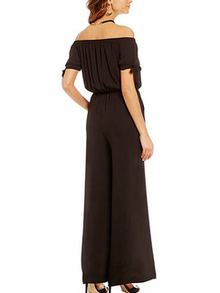 Black Two Piece Off Shoulder Shirt Wide Leg Pants Plus Size Jumpsuit for Casual