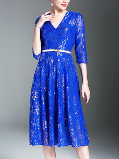 Blue Midi Slim V Neck Full Skirt Lace Plus Size Dress for Party Evening