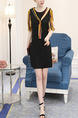 Black Colorful Above Knee Slim Round Neck Contrast Linking Plus Size Jumpsuit for Casual Office Party Evening