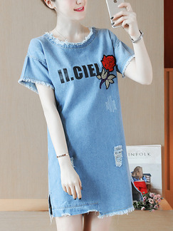 Blue Shift Above Knee Edging Embroidery Holes Denim Plus Size Dress for Casual Party
