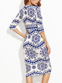 Blue and White Bodycon Knee Length Chinese Printed Over-Hip Plus Size Dress for Casual Office Party Evening
