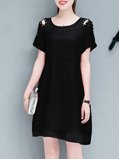 Black Above Knee Shift Off-Shoulder Bead Plus Size Dress for Casual Office Party Evening