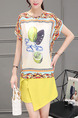 Yellow and White Colorful Printed Irregular Two-Piece Plus Size Jumpsuit for Casual Office Party