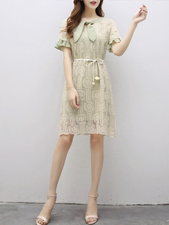 Green Knee Length Ruffled Band-Belt Lace Plus Size Dress for Casual Office Party Evening