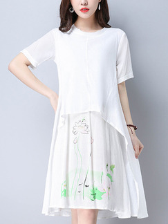 White Knee Length Chinese Two-Layered Printed Plus Size Dress for Casual Office Party