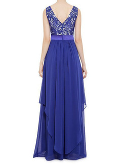 Blue Full Skirt Chiffon Lace Linking Open Back Two-Layered Plus Size Dress for Evening Ball Cocktail Prom