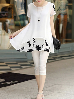 White and Black Shift Above Knee Plus Size Floral Dress for Casual Office Party