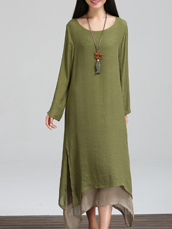 Green Shift Maxi Plus Size Long Sleeve Dress for Casual Beach