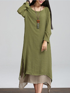 Green and Gray Maxi Dress for Casual
