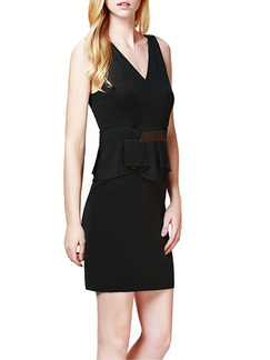 Black V Neck Sheath Above Knee Dress for Casual Office Party   Seasonal Discount
