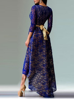 Blue and Golden Maxi Fit & Flare Lace Plus Size Dress for Evening Prom Ball Cocktail