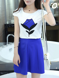 White Black Blue Two Piece Above Knee Plus Size Dress for Casual Party Seasonal Discount