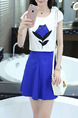 White Black Blue Two Piece Above Knee Plus Size Dress for Casual Party