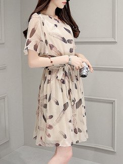 Beige Knee Length Plus Size Shift Dress for Casual Evening Party  Seasonal Discount