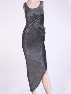Silver Maxi Bodycon Dress for Party Evening Cocktail Prom