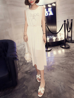 White Midi Shift Dress for Casual Evening Party