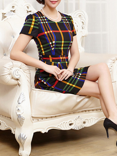 Black Colorful Stripe Above Knee Sheath Plus Size Dress for Casual Evening Office  Seasonal Discount