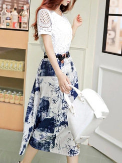 White and Blue Midi Lace Two Piece Plus Size Dress for Casual Office