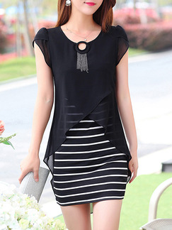 Black and White Above Knee Bodycon Plus Size Dress for Casual Party Office