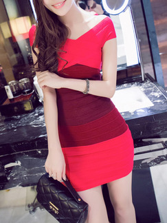 Red Above Knee Bodycon Off Shoulder V Neck Dress for Party Evening Cocktail