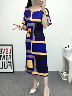 Blue Black Midi Shift Dress for Casual Office Party