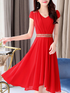 Red Knee Length Fit & Flare V Neck Plus Size Dress for Party Evening Casual  Seasonal Discount