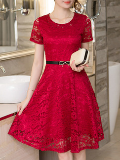 Red Midi Fit & Flare Lace Dress for Party Evening Cocktail