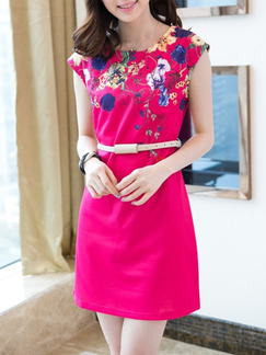 Pink Colorful Shift Above Knee Plus Size Floral Dress for Casual Party Office