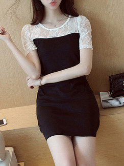 White and Black Shift Above Knee Lace Dress for Casual Party Evening Office