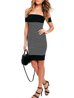 Black and White Above Knee Plus Size Off Shoulder Bodycon Dress for Party Evening Cocktail Seasonal Discount
